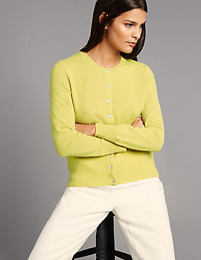 Pure Cashmere Button Through Cardigan, CHARTREUSE, catlanding