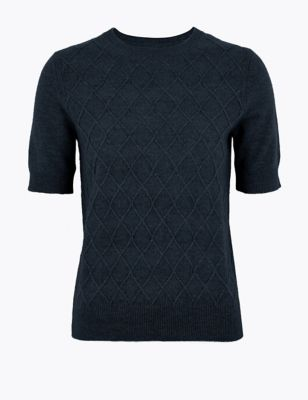 Pure Cashmere Argyle Knitted Top