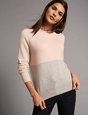 Pure Cashmere Colour Block Jumper  , GREY MIX, catlanding