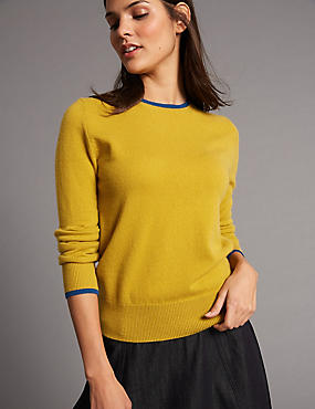 Pure Cashmere Contrasting Edge Jumper, WINTER LIME, catlanding