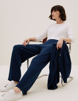 Pure Cashmere Wide Leg Knitted Trousers