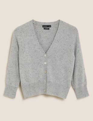 Pure Cashmere V-Neck Cropped Cardigan