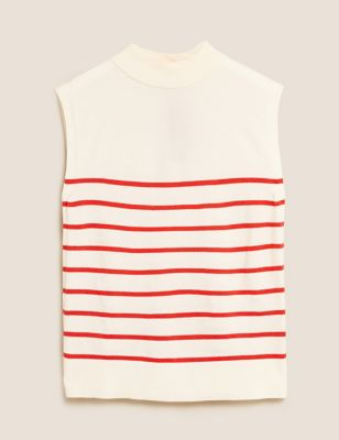 Soft Touch Striped Funnel Neck Tunic