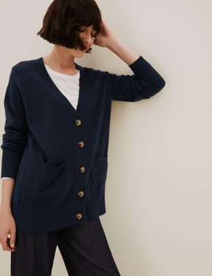 Pure Cashmere V-Neck Button Front Cardigan