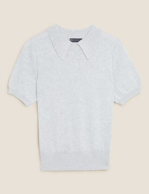 Cotton Collared Short Sleeve Knitted Top