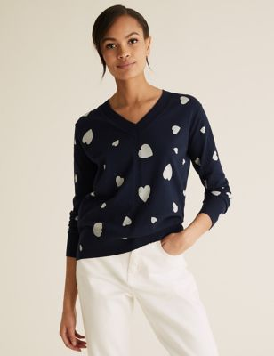 Cotton V-Neck Relaxed Jumper