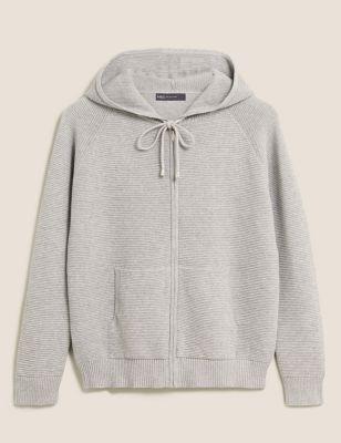 Pure Cotton Textured Zip Up Hoodie