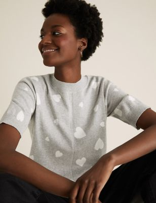 Cotton Heart Print Knitted Top