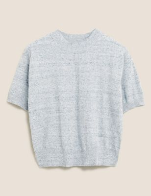 Cotton Crew Neck Knitted Top