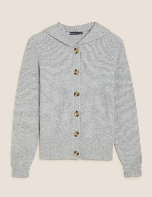 Soft Touch Ribbed Hooded Cardigan