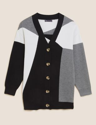 Soft Touch Colour Block V-Neck Cardigan