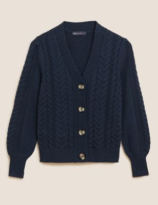 Soft Touch Cable Knit V-Neck Cardigan