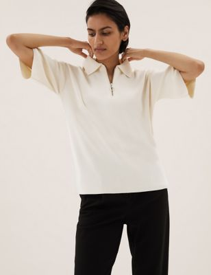 Cotton Polo Neck Knitted Top
