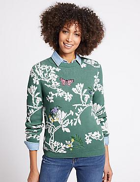 Cotton Rich Floral Print Round Neck Jumper, SOFT GREEN, catlanding