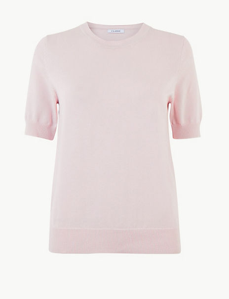 Pure Cotton Round Neck Knitted Top