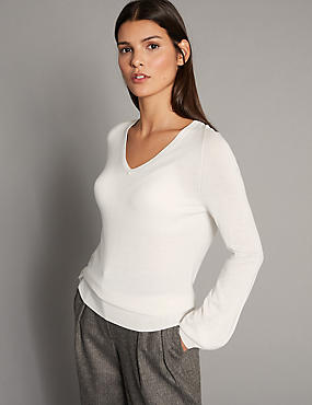Modal Blend V-Neck Bubble Sleeve Jumper, WINTER WHITE, catlanding