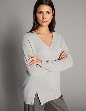 Pure Cashmere Stepped Hem V-Neck Jumper, GREY MARL, catlanding