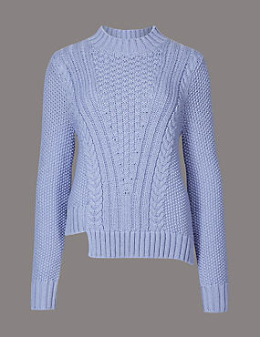 Cotton Blend Cable Knit Jumper, WEDGEWOOD, catlanding