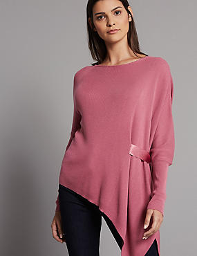 Asymmetric Round Neck Long Sleeve Jumper, DAMASK, catlanding