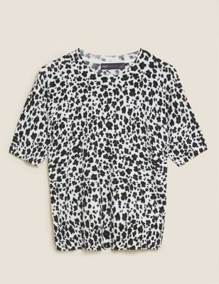 Animal Print Ribbed Crew Neck Knitted Top