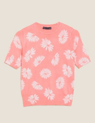 Floral Crew Neck Short Sleeve Knitted Top