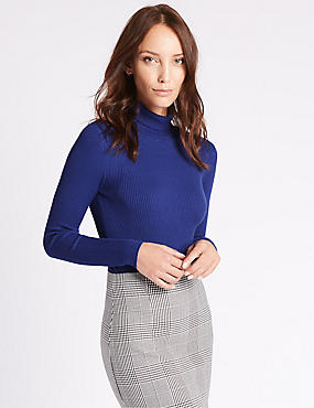 Ribbed Polo Neck Jumper, COBALT, catlanding