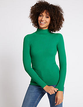 Ribbed Polo Neck Jumper, EMERALD, catlanding