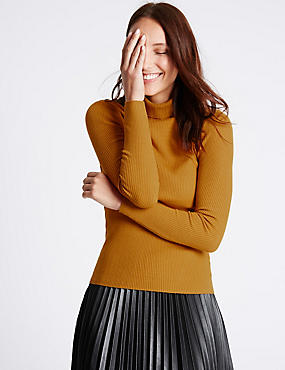 Ribbed Polo Neck Jumper, DARK GOLD, catlanding