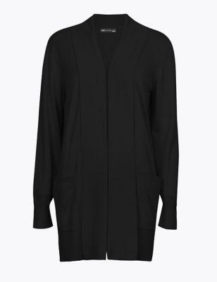 Folded Collar Longline Cardigan