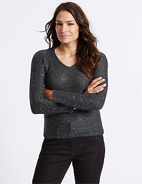 Textured Sequin V-Neck Jumper , GREY, catlanding