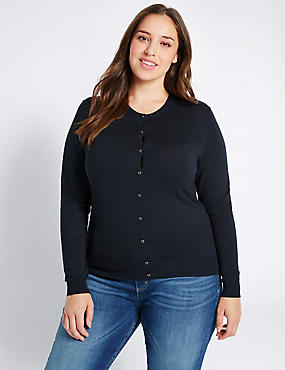 PLUS Round Neck Cardigan, NAVY, catlanding