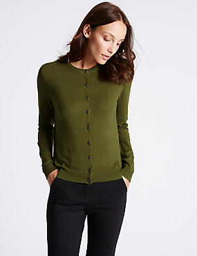 Ribbed Round Neck Cardigan, EVERGREEN, catlanding