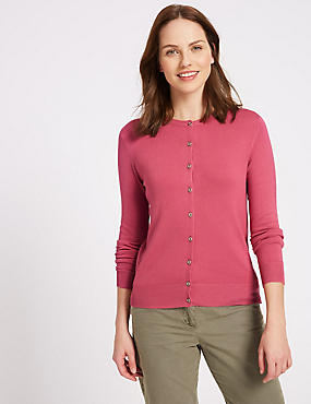Ribbed Round Neck Cardigan, LIGHT RASPBERRY, catlanding