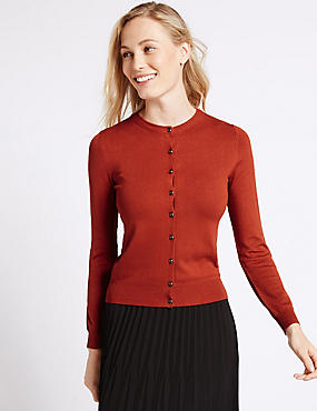 Ribbed Round Neck Cardigan, SIENNA, catlanding