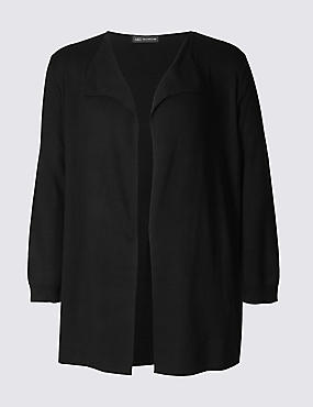 PLUS Open Front Cardigan, BLACK, catlanding