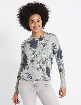 Floral Print Ribbed Sleeve Jumper, GREY MIX, catlanding