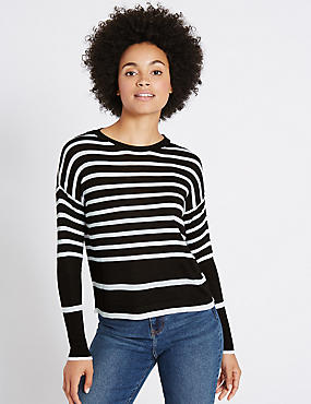 Striped Round Neck Ribbed Sleeve Jumper, MULTI, catlanding