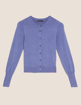 Crew Neck Button Front Cardigan