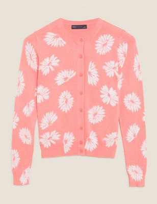 Floral Crew Neck Button Front Cardigan