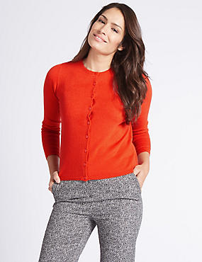 Cashmilon™ Round Neck Cardigan, ORANGE, catlanding