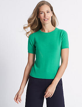 Cashmilon™ Round Neck Short Sleeve Jumper, JADE, catlanding