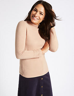 Funnel Neck Long Sleeve Jumper, TAN, catlanding