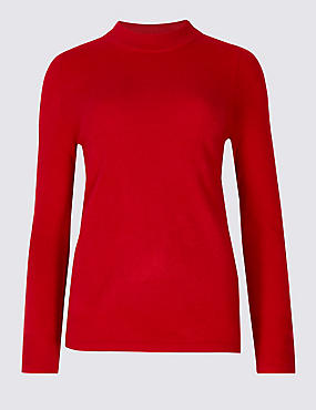Funnel Neck Long Sleeve Jumper, POPPY, catlanding