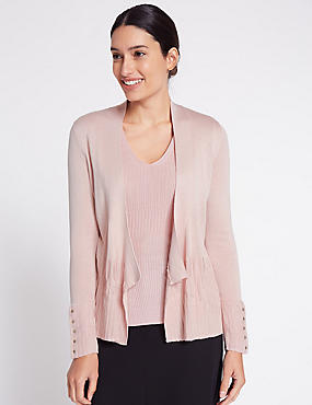 Ribbed Open Front Cardigan, NUDE, catlanding