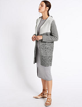 Colour Block Cardigan, GREY MIX, catlanding