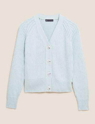 Cotton Ribbed V-Neck Cardigan