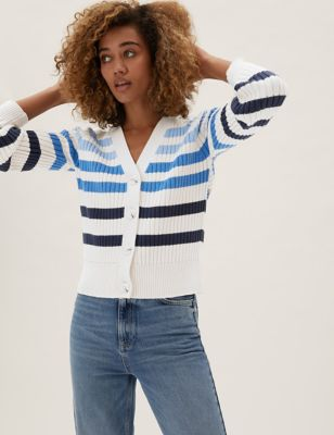 Cotton Striped Ribbed V-Neck Cardigan