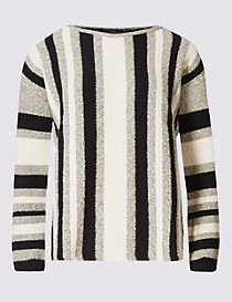 Striped Slash Neck Jumper