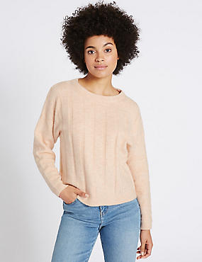 Textured Round Neck Jumper, BLUSH PINK, catlanding