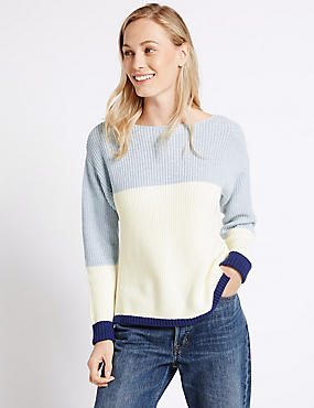 Pure Cotton Colour Block Slash Neck Jumper, SOFT BLUE MIX, catlanding